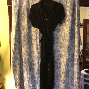 Tie waist collared maxi dress